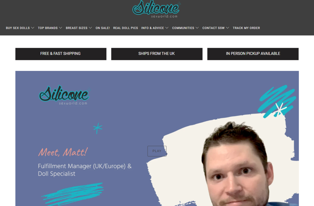This is a screenshot taken from the Silicon Sex World website showing a photo of Matt, their distribution manager on the screen about to discuss what the company do on a video on the homepage of the website