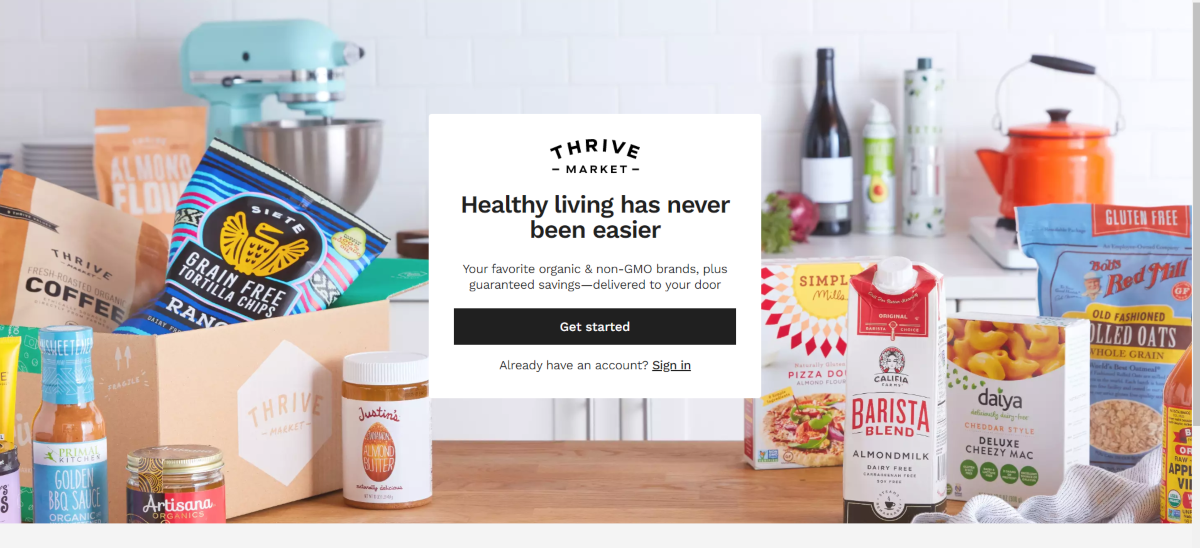 This is a screenshot taken from the welcome page on ThriveMarket.com showing they are a membership based e-commerce store where people can buy from multiple organic and Non-GMO brands together, get discount pricing and delivery savings.