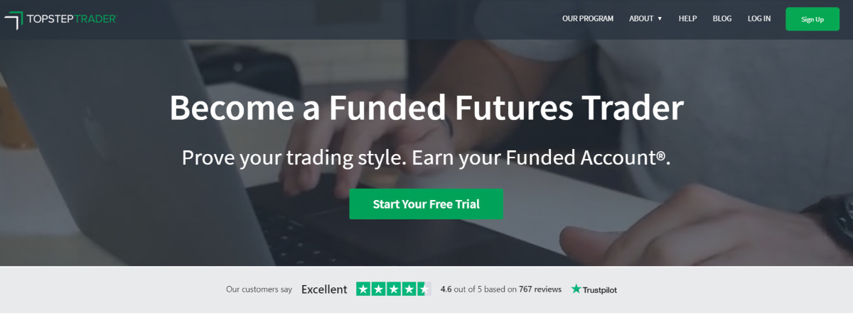 This is a screenshot taken from the TopStepTrader.com website that shows they are offering potential day traders to prove their trading strategy to earn a funded account.