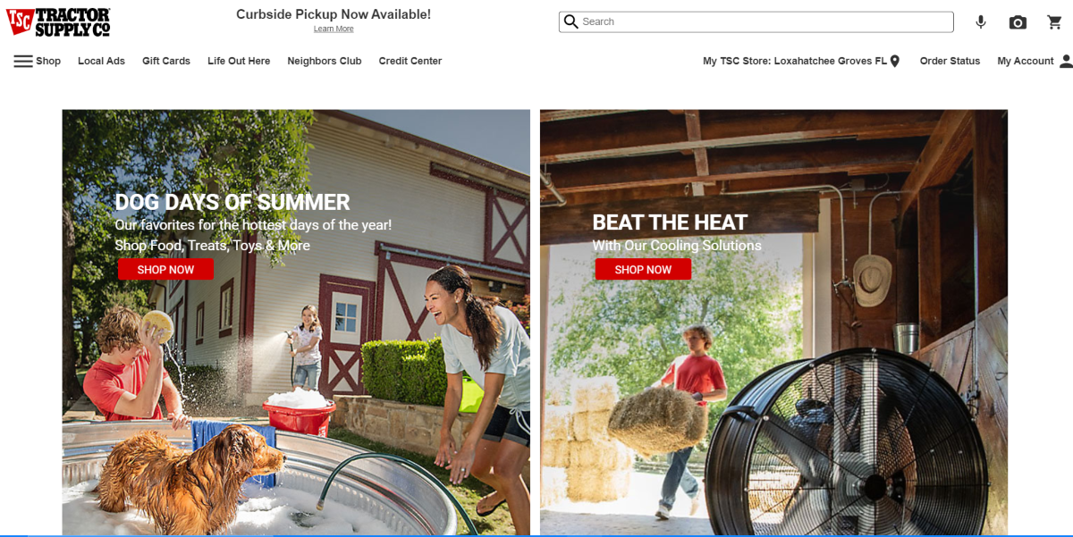 This is a screenshot taken from the TractorSupply.com website showing a photo of a dog in water during the summer as part of their summer promotional campaign for dog treats, food and toys to help keep dogs healthy, hydrated and cool during hot summer days.