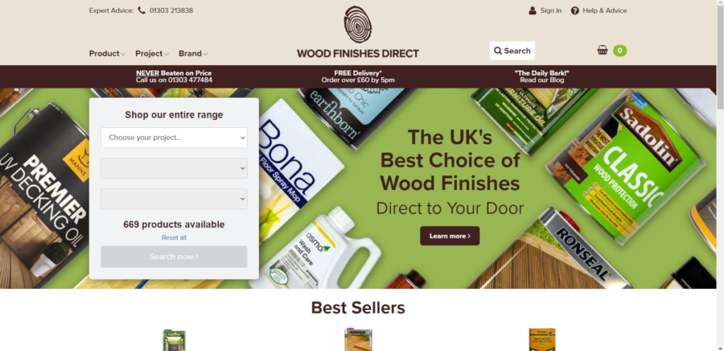 This is a screenshot taken from the Wood-Finishes-Direct.com website