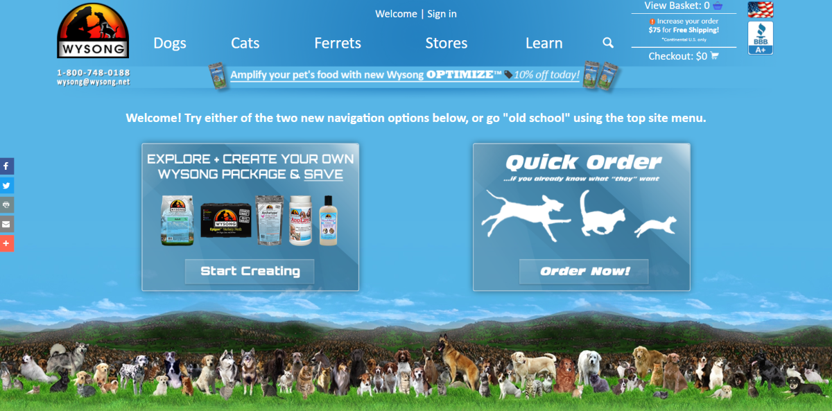 This is a screenshot captured from the Wysong.net website giving customers the option to create pet food packages for dogs, cats, and ferrets.