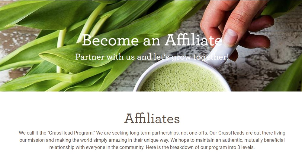 amazing grass affiliate sign up page