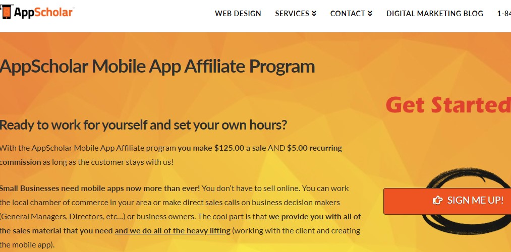app scholar affiliate sign up page