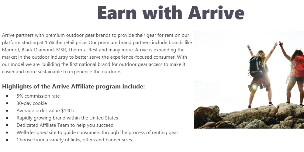 arrive affiliate sign up page
