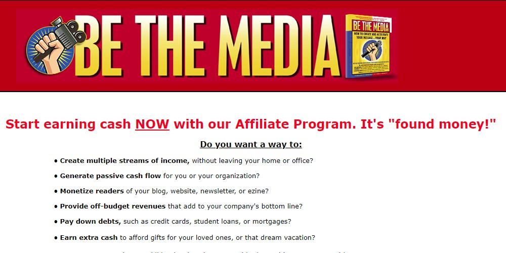 be the media affiliate sign up page