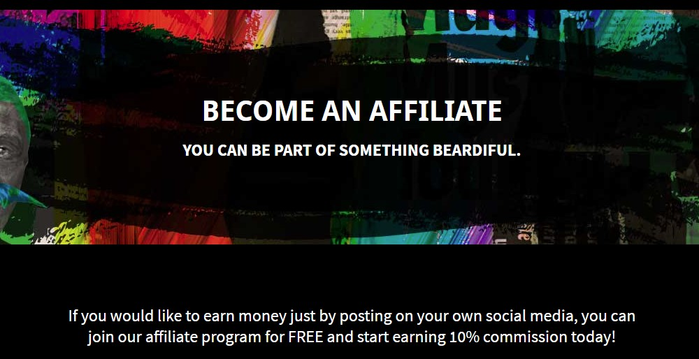 beard spunk affiliate sign up page