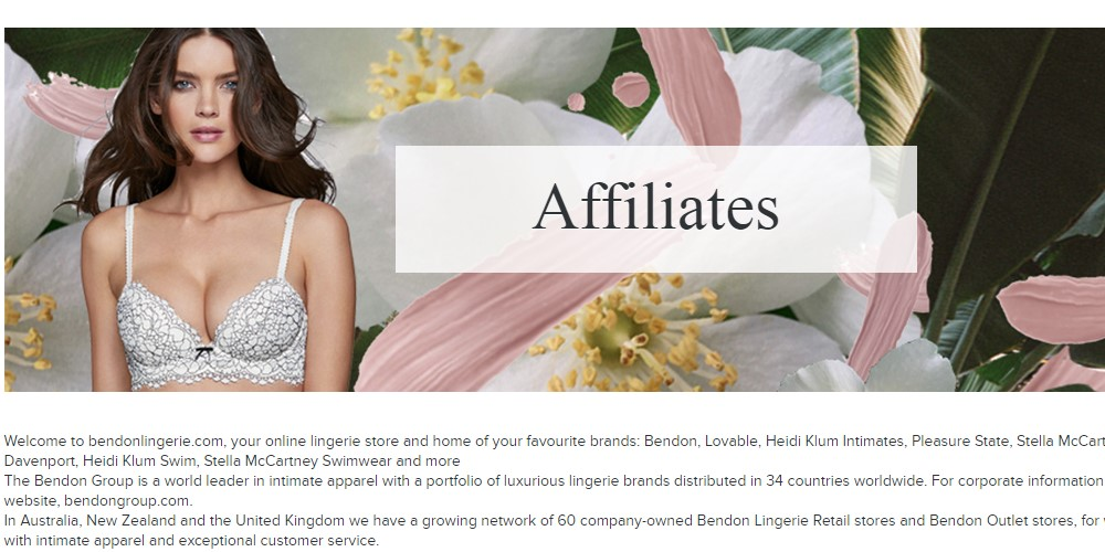 bendon lingerie affiliate sign up page