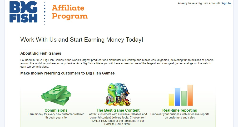 big fish affiliate sign up page