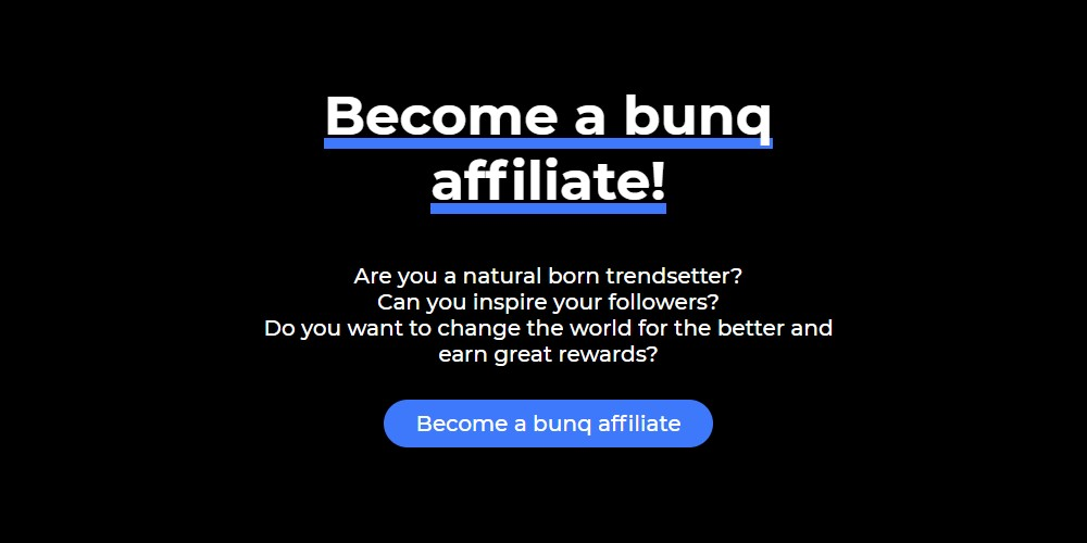 bunq affiliate sign up page