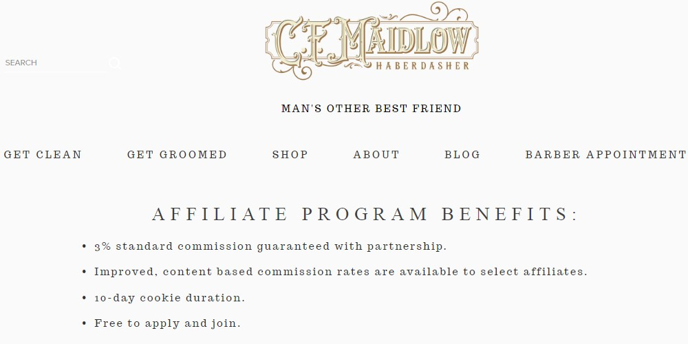cf maidlow affiliate sign up page