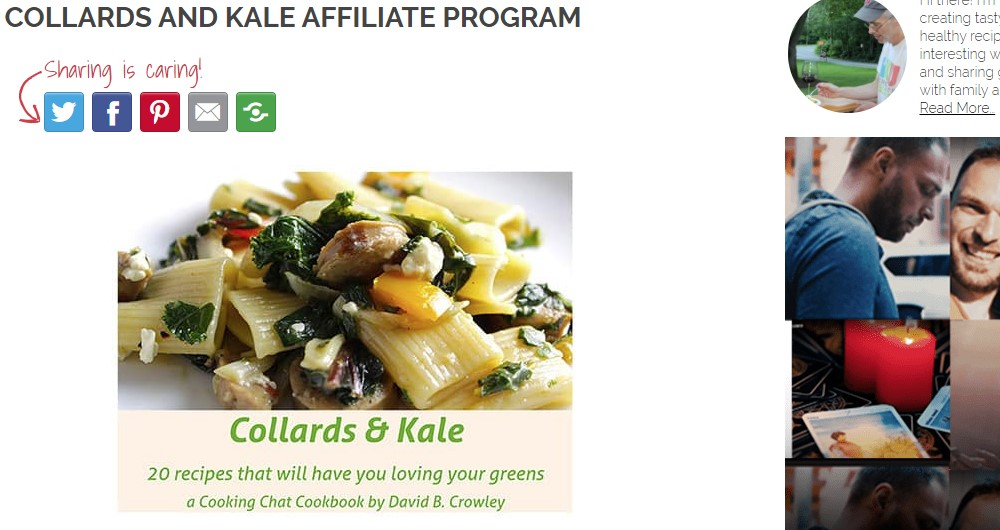 collards and kale affiliate sign up page