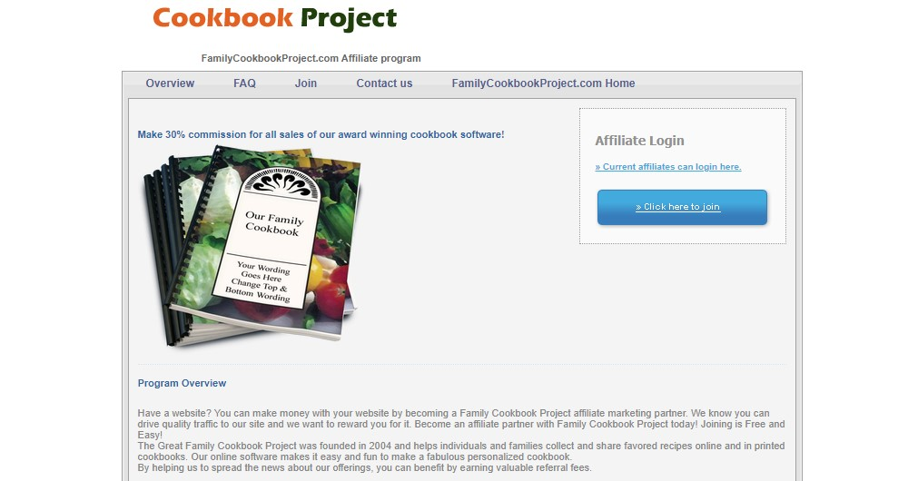 cookbook project affiliate sign up page