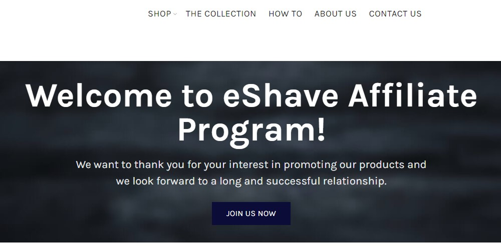eshave affiliate sign up page