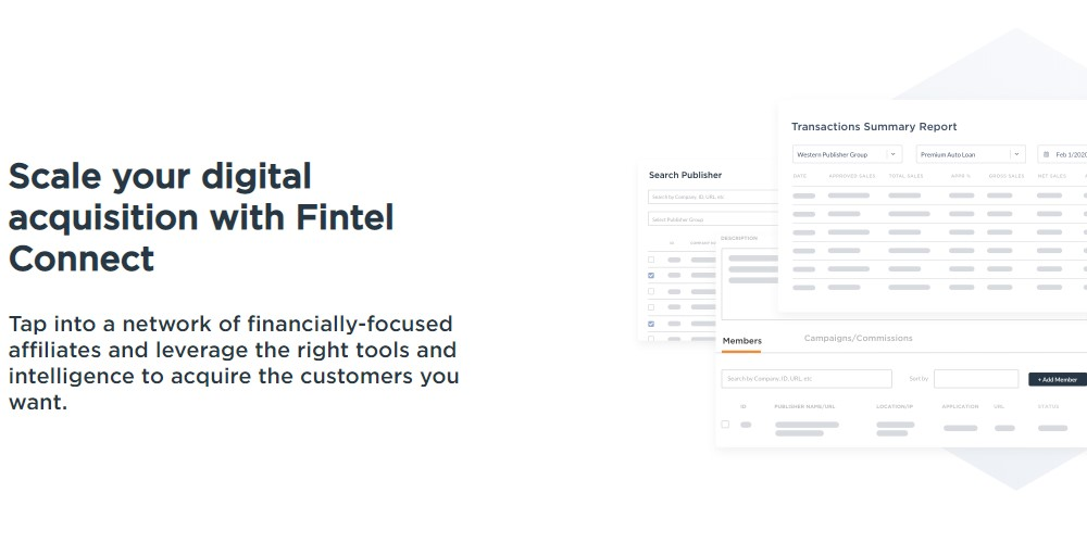 fintel connect affiliate sign up page