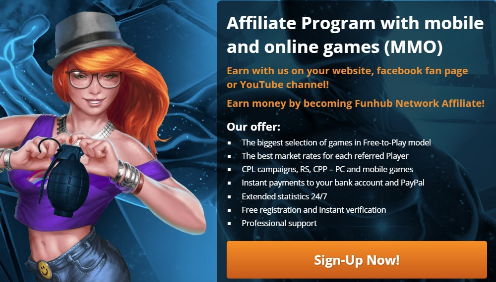 fun hub network affiliate sign up page