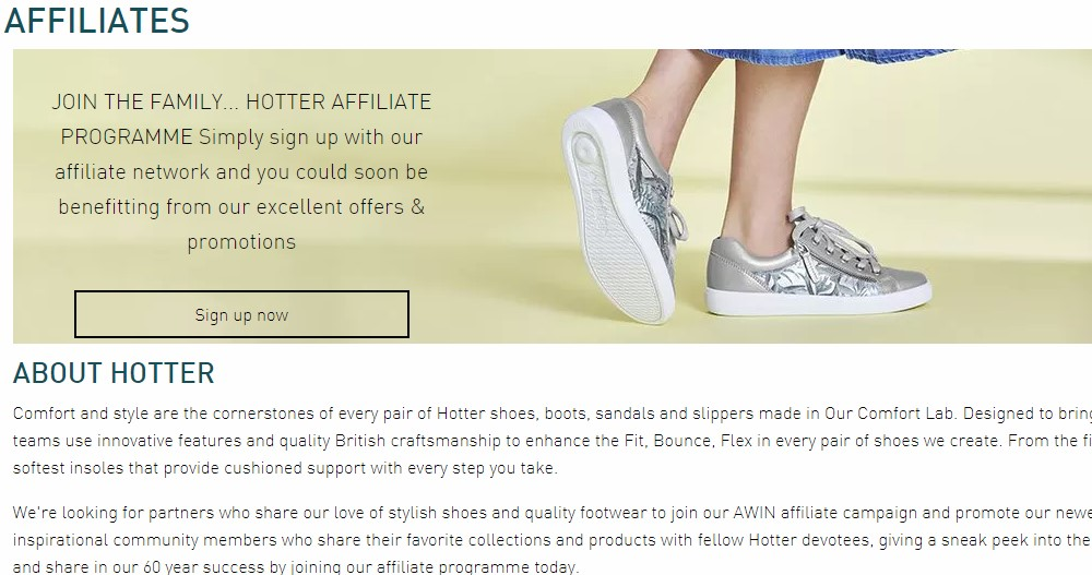 hotter affiliate sign up page