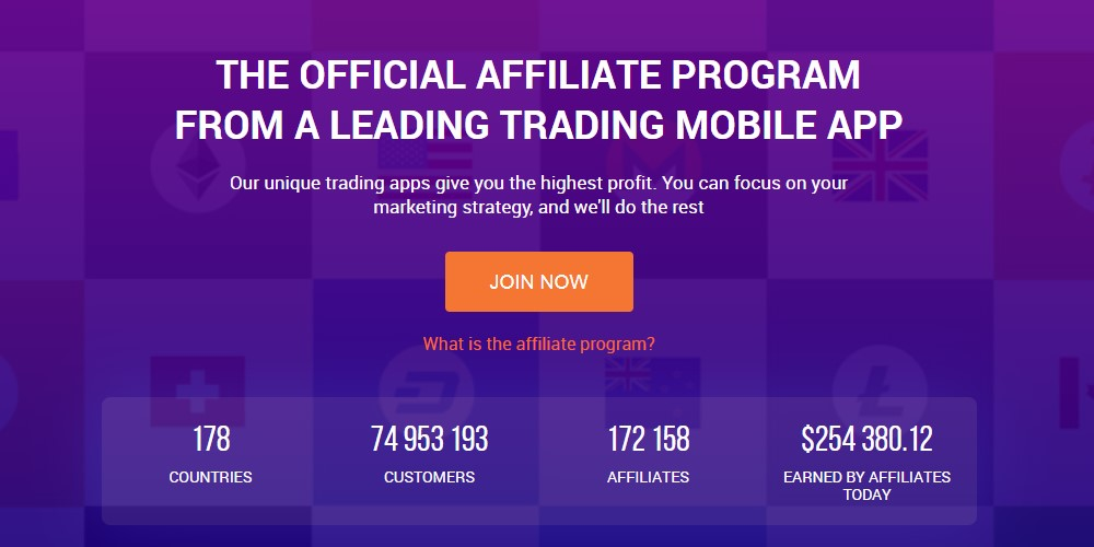 iq option affiliate sign up page