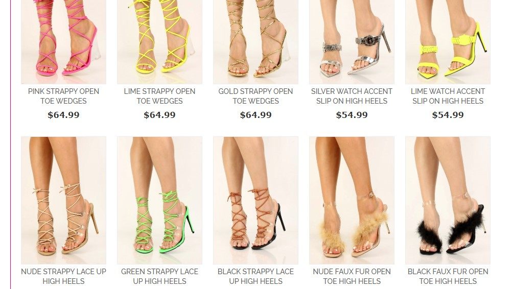 pink basis shoe category page