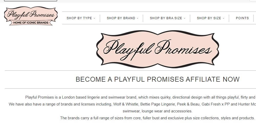playful promises affiliate sign up page