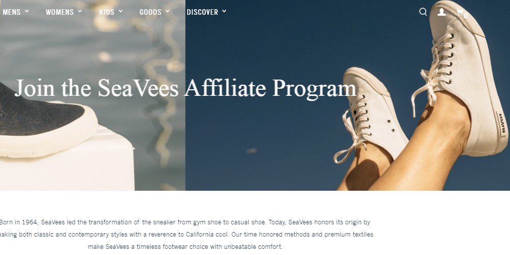 seavees affiliate sign up page