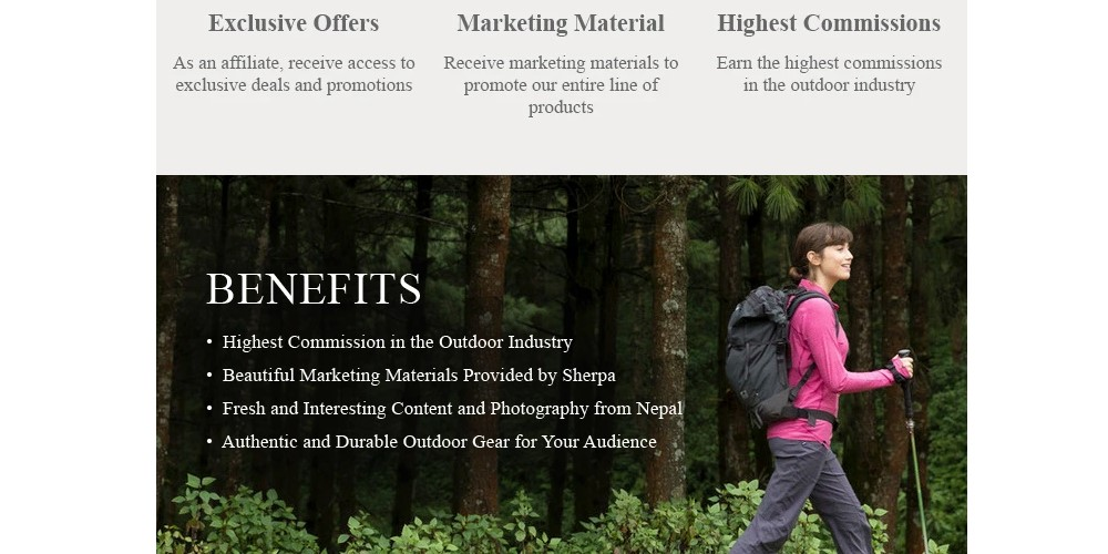 Sherpa Adventure Gear affiliate sign up page