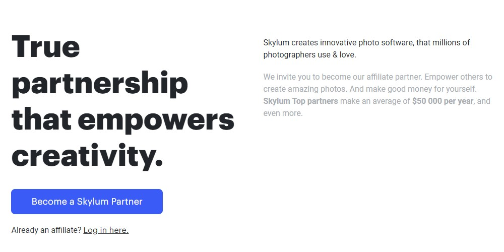 skylum affiliate sign up page
