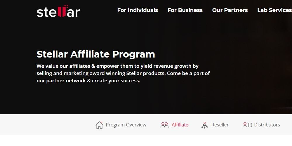 stellar affiliate sign up page