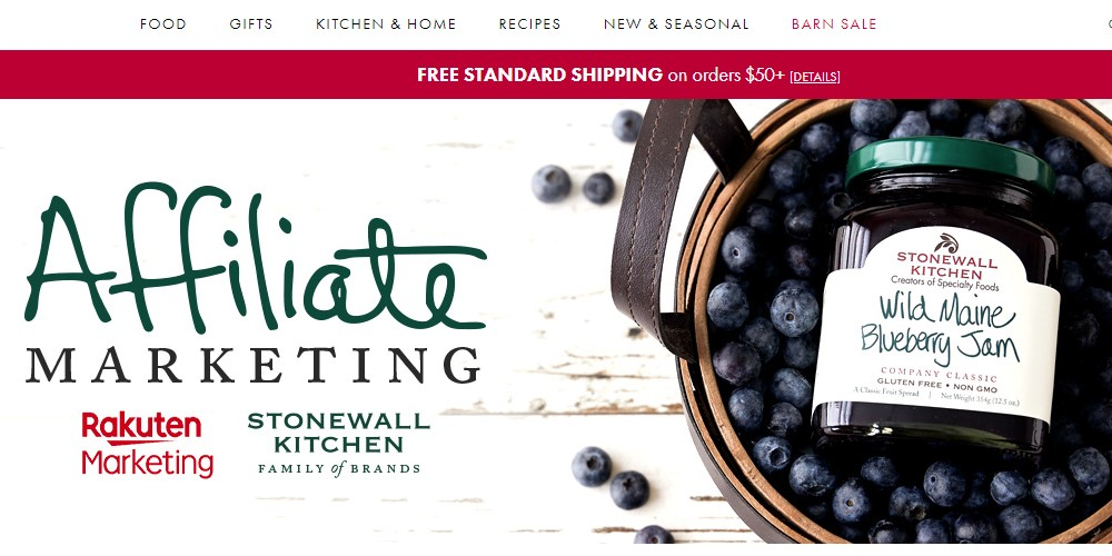 stonewall kitchen affiliate sign up page