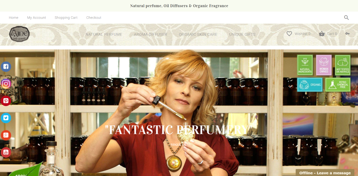 This is a screenshot of the Ajne.com website showing a photo of the company's founder Jane Hendler in the store making perfume.