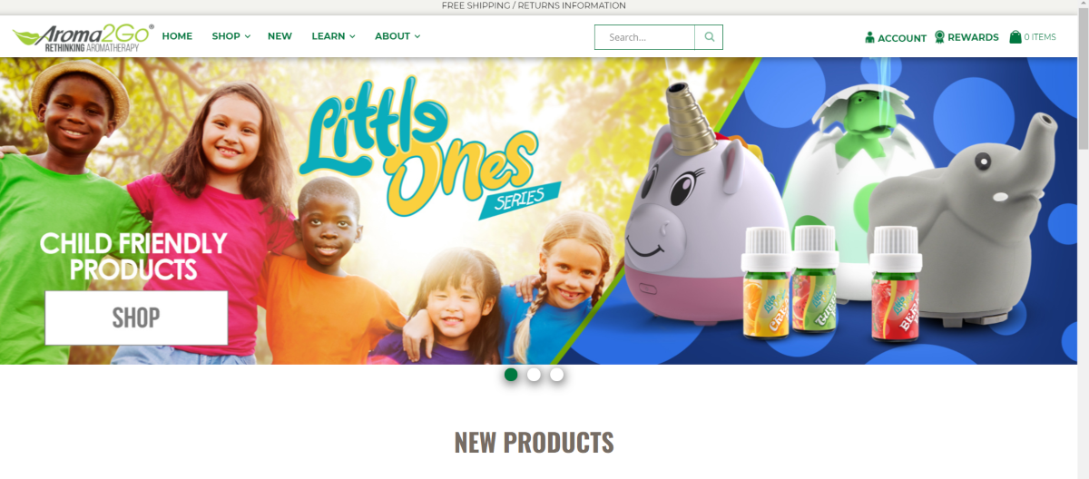 This is a screenshot taken from the Aroma2go.com website showing some of the child-friendly products in their Little Ones Series.