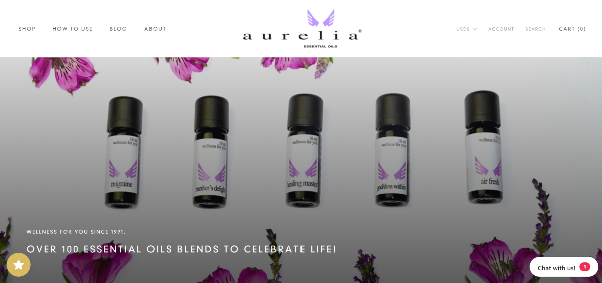 This is a screenshot taken from the Aurelia Essential Oils website showing a sample collection of their small vials of essential oils available from the store.
