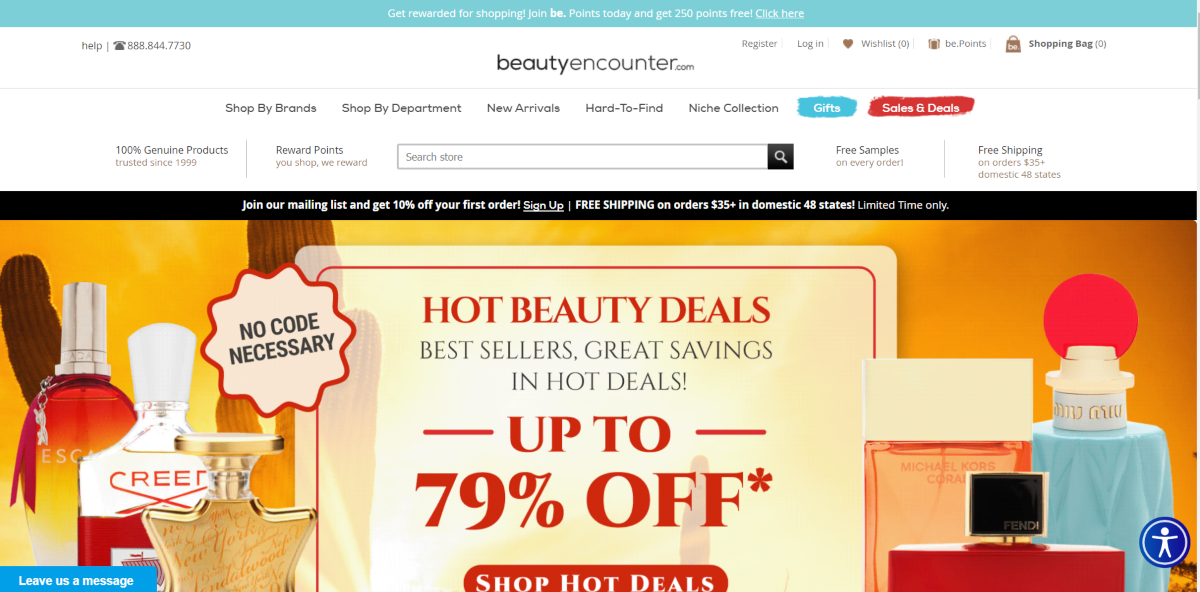 This is a screenshot of the Beautyencounter.com website showing they sell 100% genuine brand name fragrances at up 79% discount.
