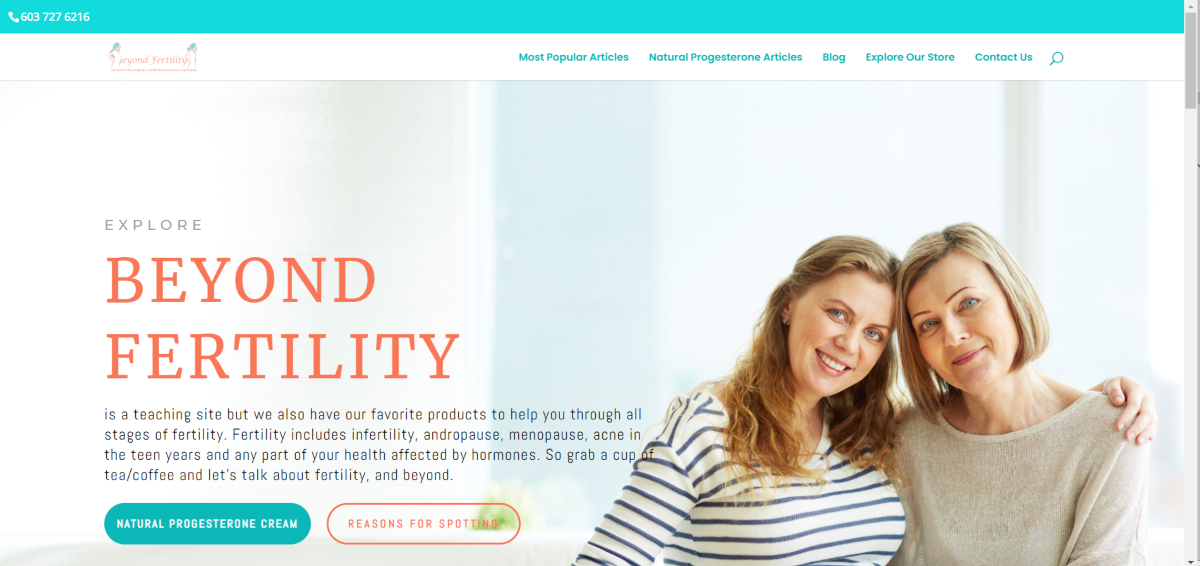 This is a screenshot taken from the BeyondFertility.com website that tells the story of the brand starting out with information, then progressing to become a leading online fertility store.
