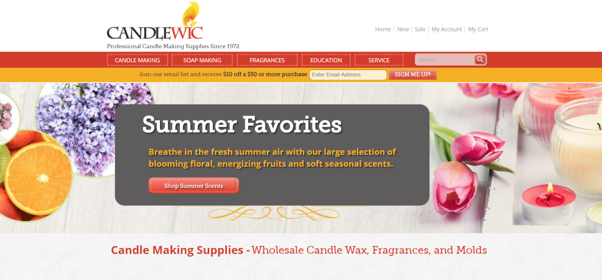 This is a screenshot taken from the CandleWic.com website showing they are a candle making supply store that offers wholesale pricing on soap making products, candle making supplies and fragrances.
