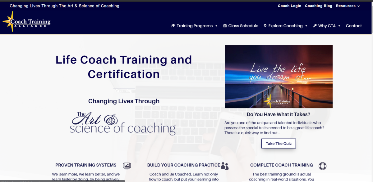 This is a screenshot of the Coach Training Alliance website that provides life coach training and certification.