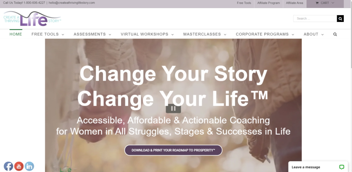 This is a screenshot taken from the Createathrivinglifestory.com website, part of the LEAP network of coaching programs.