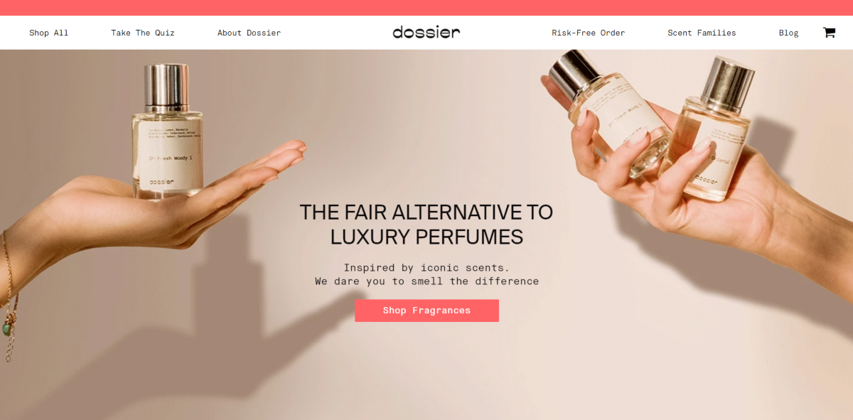 This is a screenshot taken from the Dossier.co website that offer alterative fragrances to pricier designer labels at much more affordable prices.