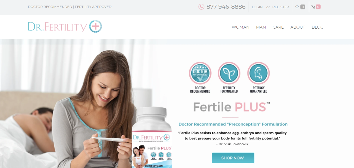 This is a screenshot taken from the DrFertility.us website showing the Fertile PLUS supplements available.