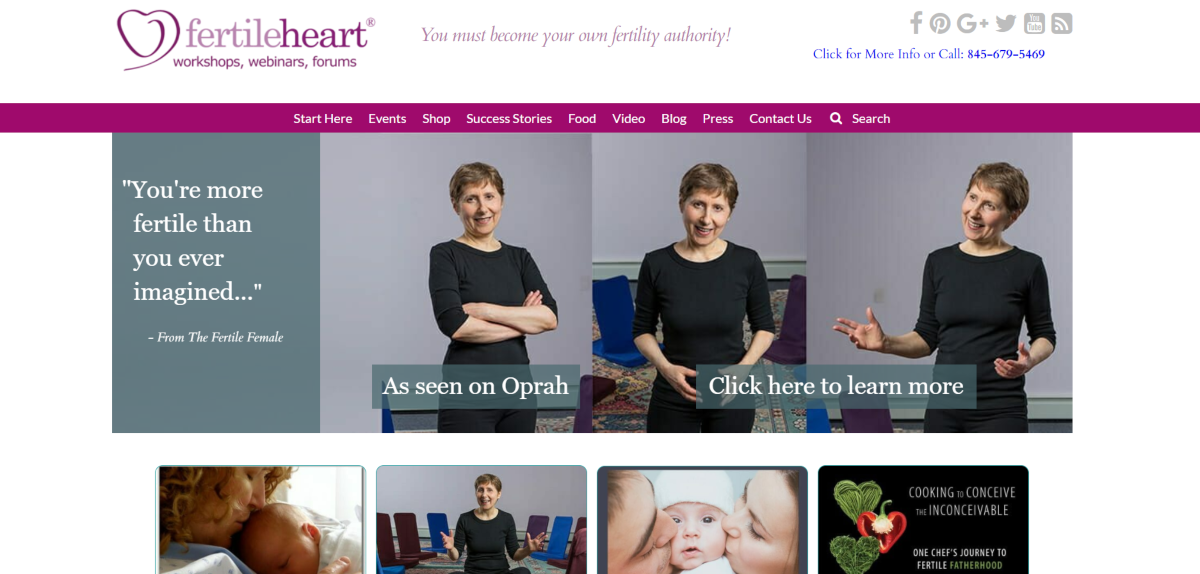This is a screenshot of the FertileHeart.com website that offers fertility courses, webinars, workshops and community support for women and couples trying to conceive naturally.