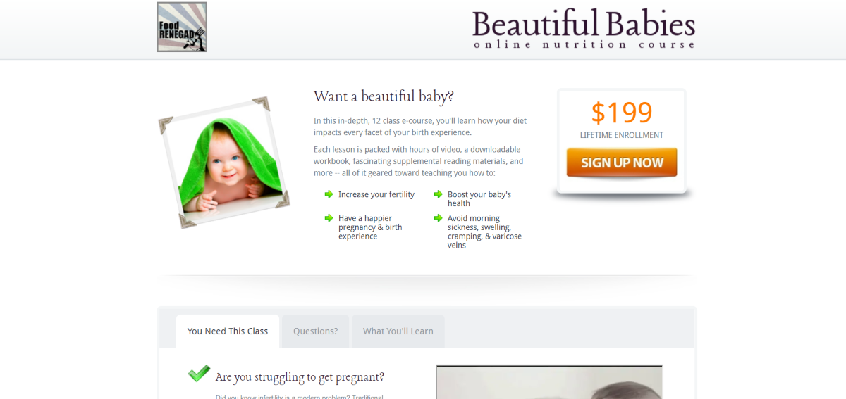 This is a screenshot of the FoodRenegade.com website that has an infertility e-course available called the Beautiful Babies Online Nutrition Course