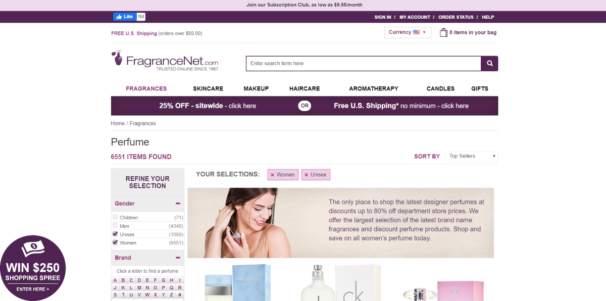 This is a screenshot taken from the perfumes category at fragrancenet.com with designer perfumes at up to 80% off retail price.