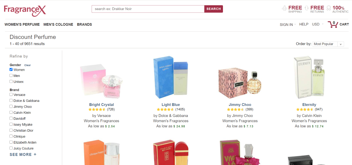 This is a screenshot taken from the Fragrancex.com website displaying the discount prefume category listing desginer fragrances at as much as 80% off regular retail prices at department stores.