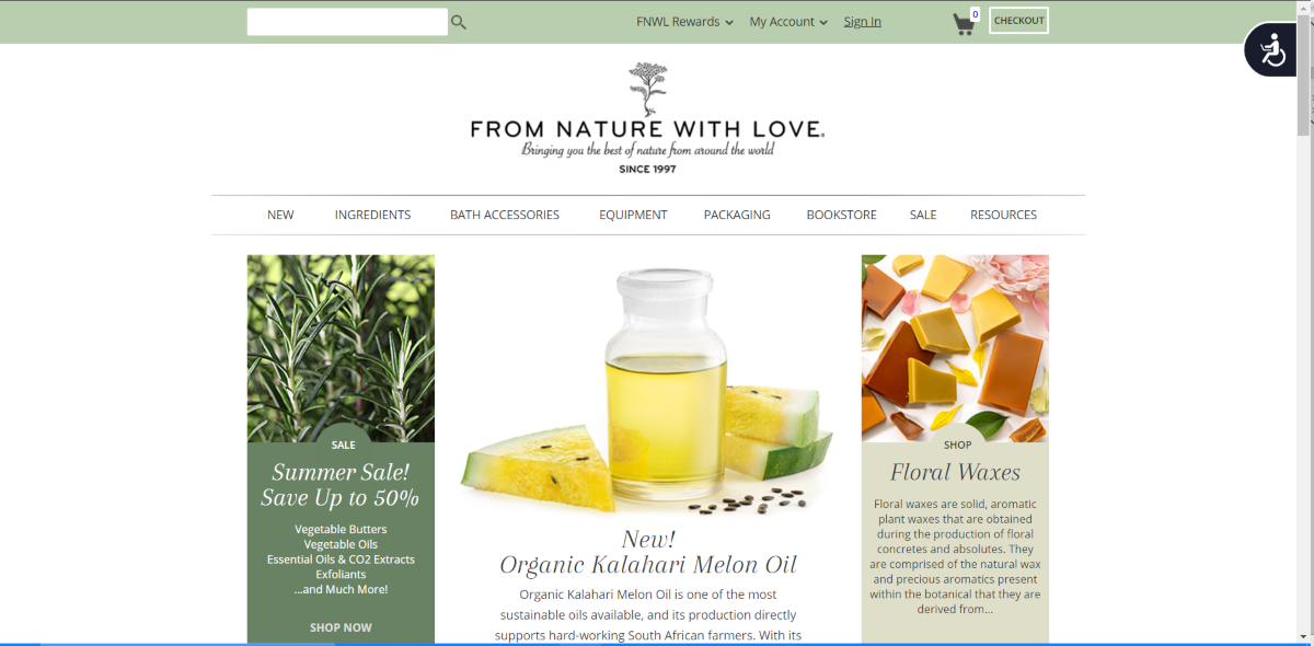 This is a screenshot taken from the fromnaturewithlove.com website that shows they have a range of natural ingredients for customers to make their own aromatherapy products.