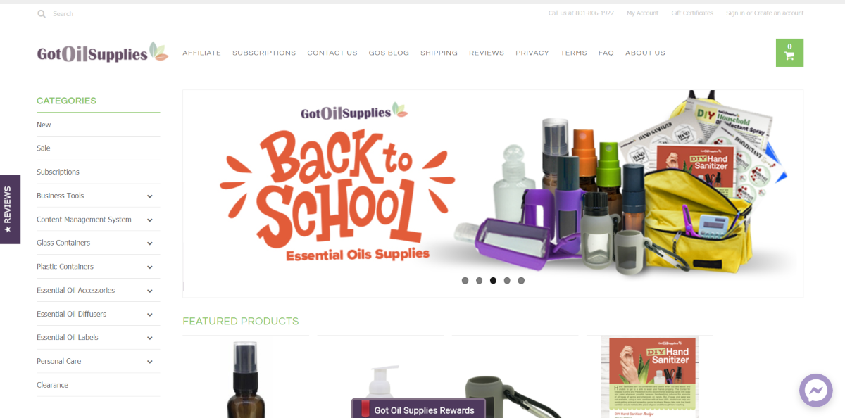 This is a screenshot taken from the GotoilSupplies.com website showing a range of aromatherapy products suitable for kids including hand sanitizer bottles and essential oil silicone holders.