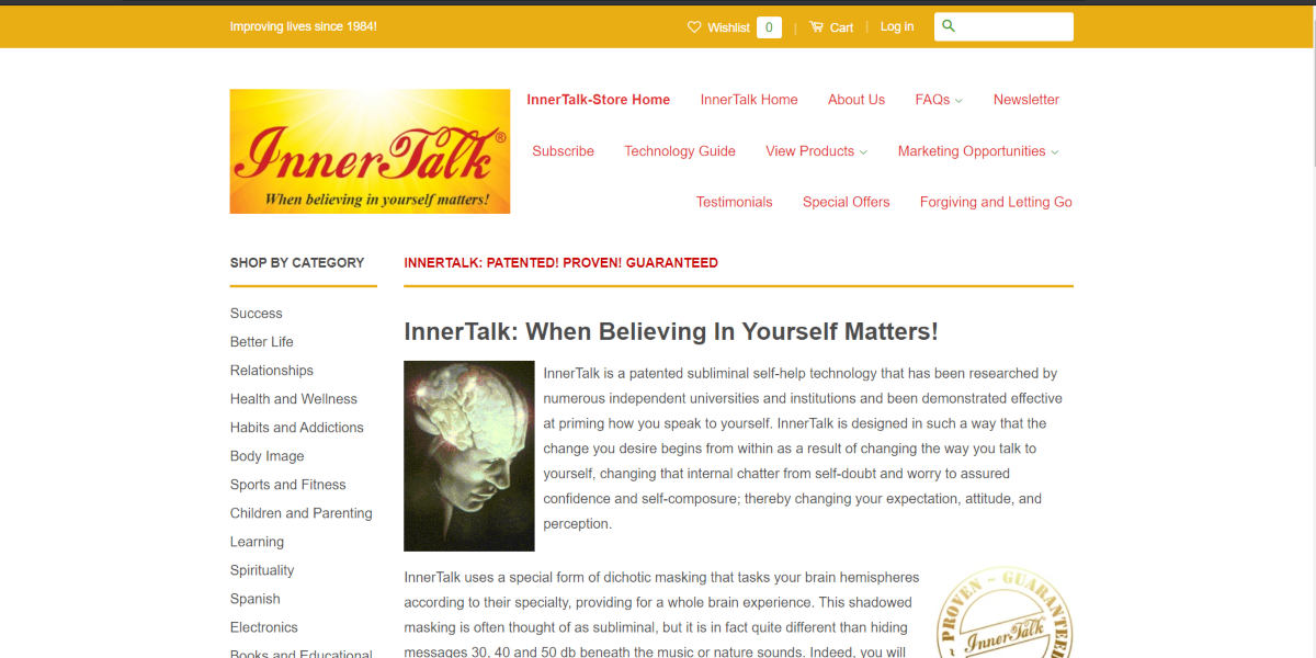 This is a screenshot taken from the online store of the Innertalk.com website.