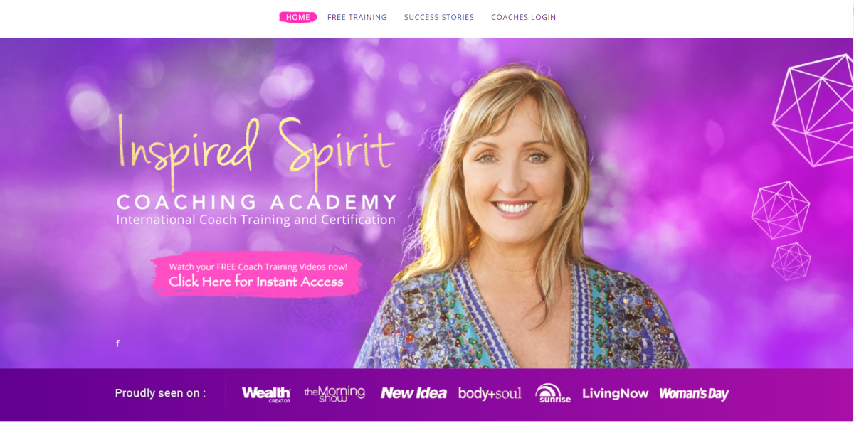 This is a screenshot from the WildlyWealthy.com website where Sandy Forster teaches women to become life coaches through the Inspired Spirit Coaching Academy.