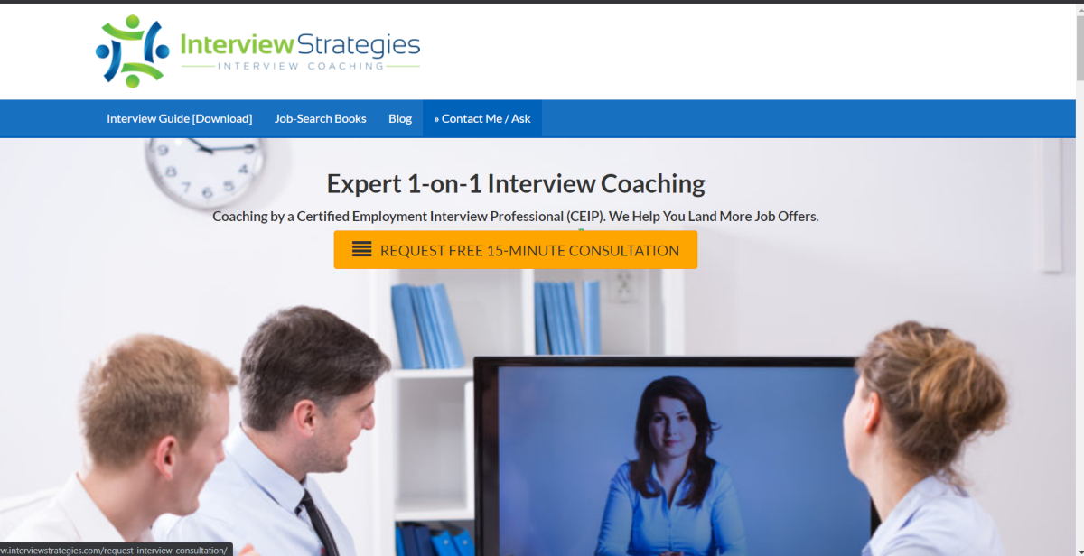 This is a screenshot taken from the Interview Strategies website that provides Job Interview Coaching from a Certified Employment Interview Professional (CEIP)