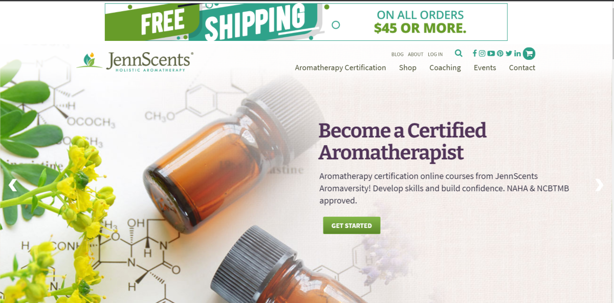 This is a screenshot taken from the JennScents.com website showing they offer Aromatherapy Certification programs.
