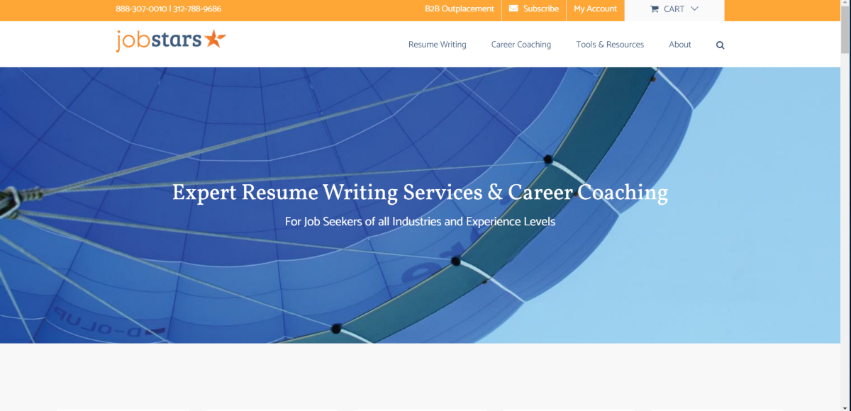 This is a screenshot taken from the Jobstars.com website showing they offer resume writing, advice and career coaching.